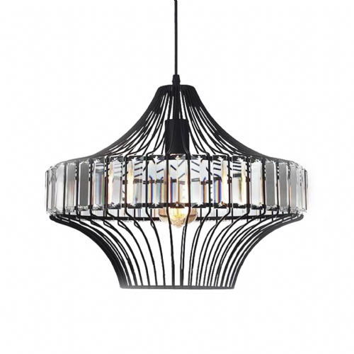 Black Metal & Crystal Pendant Ceiling Lights, Type A
